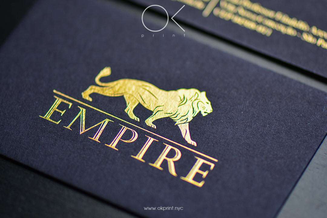 Gold Foil stamping on black business card