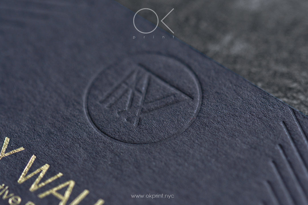 Luxury business cards with debossing on black paper