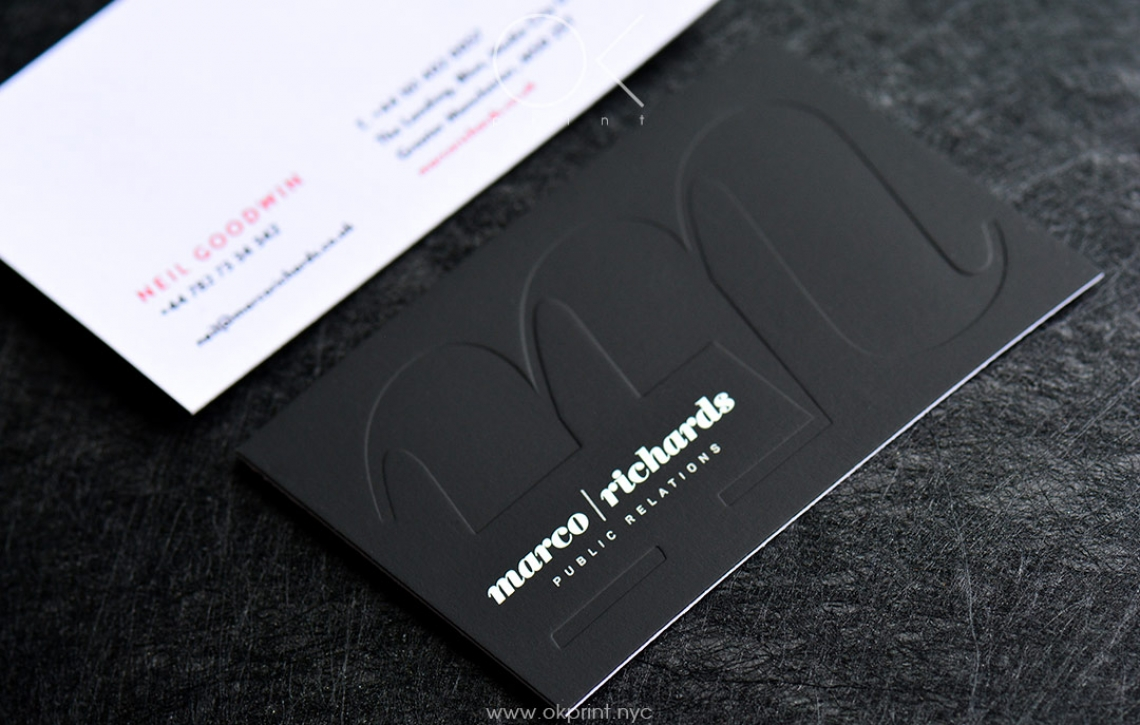 LUXURY DEBOSSED BUSINESS CARDS FOR PUBLIC RELATIONS AGENCY – OKPRINT ...