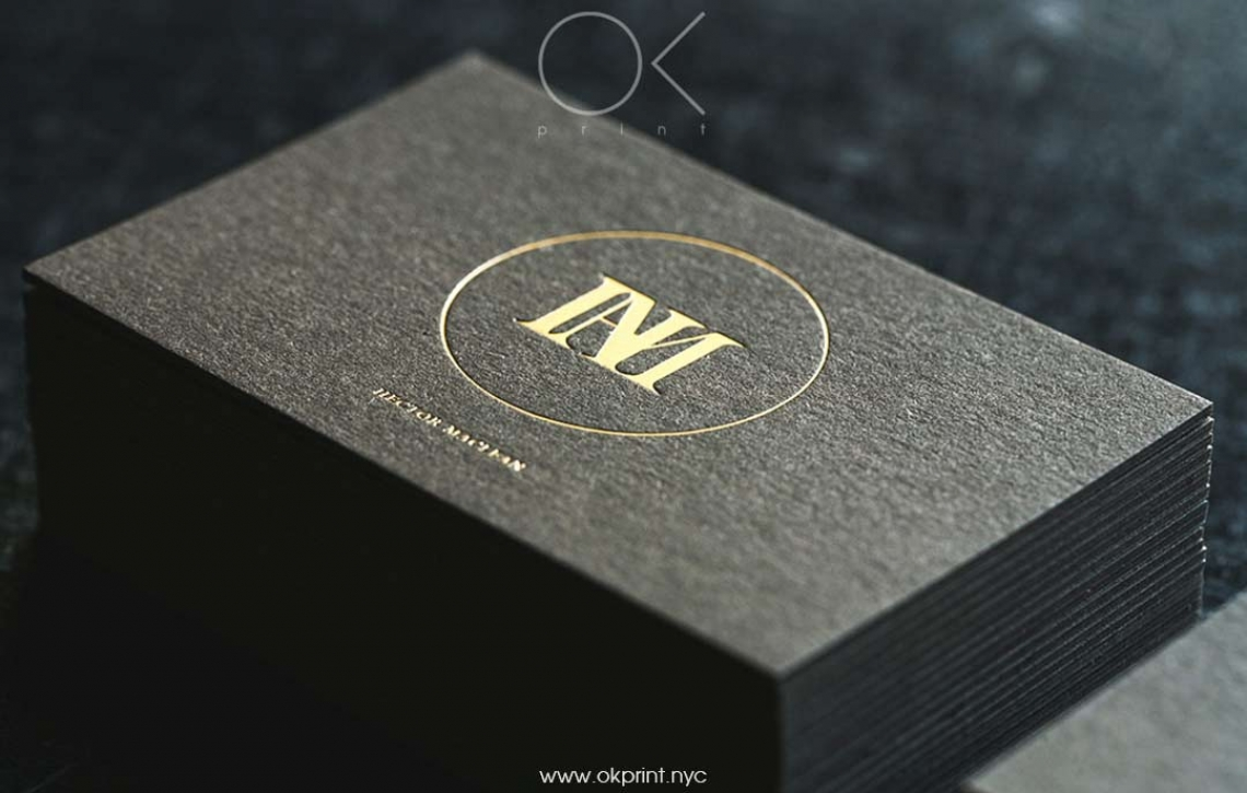 Luxury business card with foiling hector maclean okprint new york luxury business cards with gold foil for designer reheart