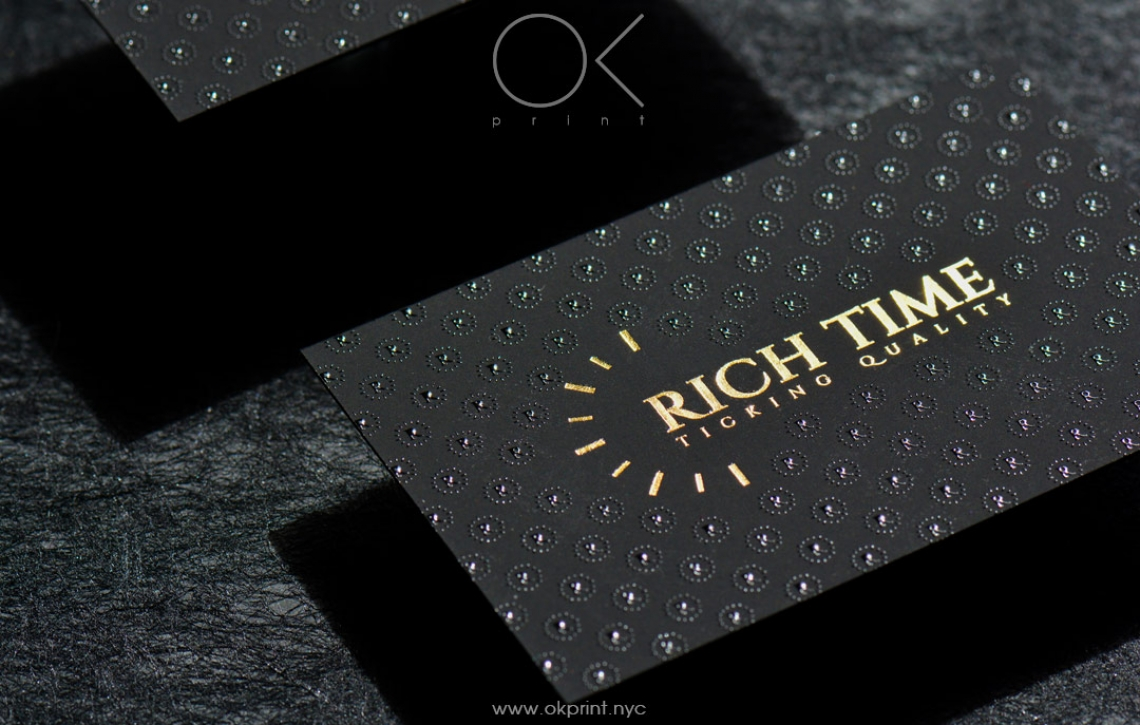 "LUXURY FOILED BUSINESS CARDS WITH RAISED INK FOR ""RICH TIME ..."