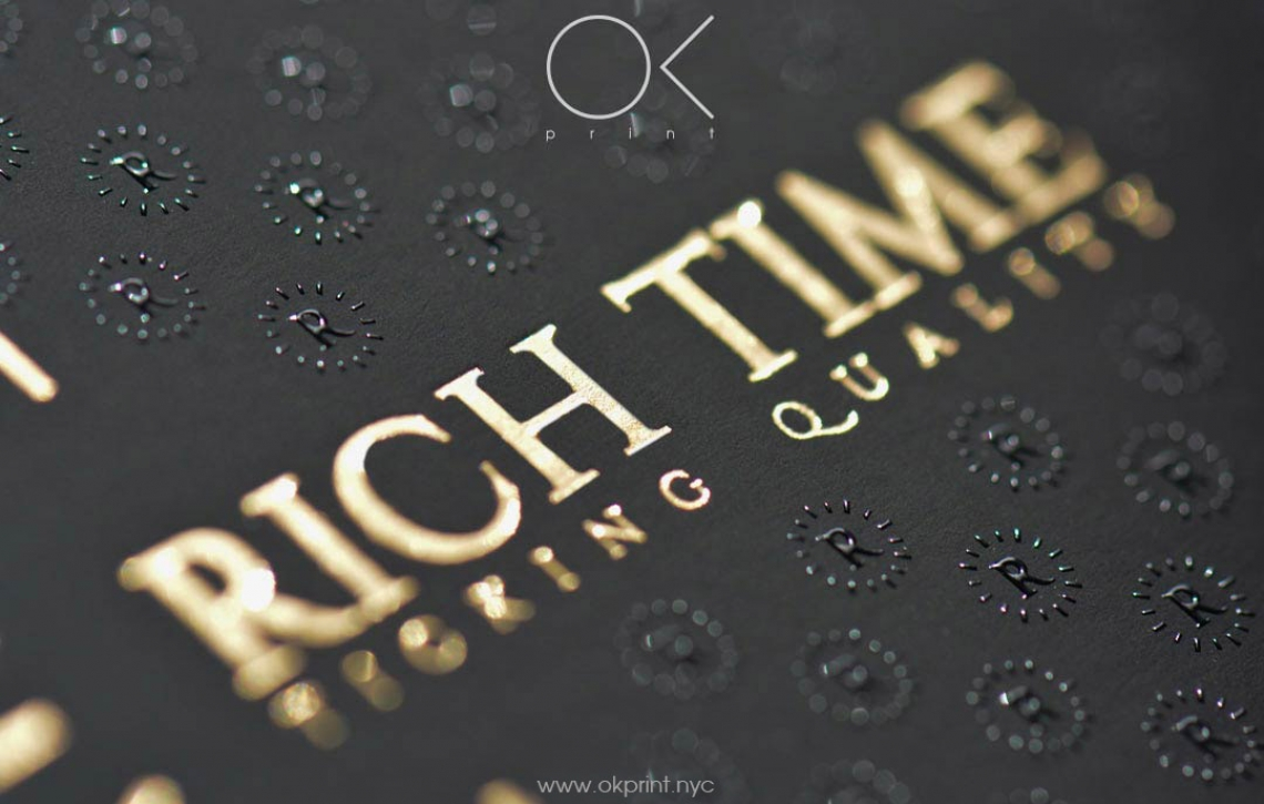 """luxury foiled business cards with raised ink for """"rich time"""